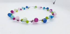 handgefertigte Polariskette Kette Collier Halskette  in Pastellfarben mit Polarisperlen mit Kristall
