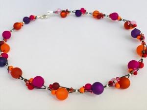 handgefertigte Polariskette Kette Collier Halskette  in pink orange lila aus Polarisperlen mit Kristall  - Handarbeit kaufen