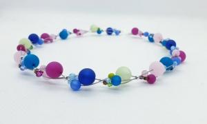handgefertigte Polariskette Kette Collier Halskette in Pastellfarben mit Polarisperlen mit Kristall  - Handarbeit kaufen
