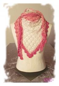 Ausgefallenes Häkeltuch ♥ Schultertuch ♥ Dreieckstuch ♥ Lacetuch ♥ Einzelstück ♥ Baumwollmischung mit Glitzergarn ♥ Weiß/Pink
