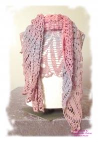 Ausgefallenes Häkeltuch mit Glasperlen ♥ Schultertuch ♥ Dreieckstuch ♥ Lacetuch ♥ Einzelstück ♥ Baumwollmischung ♥ Pastelltöne