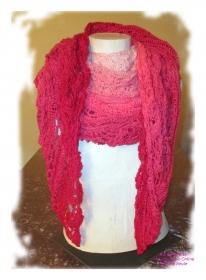 Ausgefallenes Häkeltuch ♥ Schultertuch ♥ Dreieckstuch ♥ Lacetuch ♥ Einzelstück ♥ Baumwollmischung ♥ Rosa und Pink