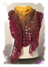 Ausgefallenes Häkeltuch ♥ Schultertuch ♥ Dreieckstuch ♥ Lacetuch ♥ Einzelstück ♥ Baumwollmischung ♥ Rot und Gelb