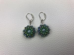 Vintage Ohrhänger in blau grün, 925 Silber Ohrhänger