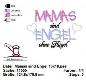♥♥♥ Mamas sind Engel, Stickdatei 13x18 ♥♥♥ - Handarbeit kaufen