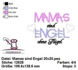 ♥♥♥ Mamas sind Engel, Stickdatei 20x20 ♥♥♥ - Handarbeit kaufen
