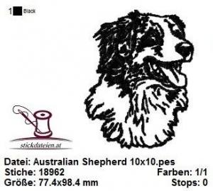 ☀☀☀ Australian Shepherd, Aussie, Stickdatei 10x10  ☀☀☀ - Handarbeit kaufen