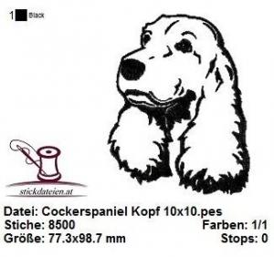 ☀☀☀ Cockerspaniel Kopf, Stickdatei 10x10  ☀☀☀