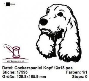 ☀☀☀ Cockerspaniel Kopf, Stickdatei 13x18  ☀☀☀ - Handarbeit kaufen