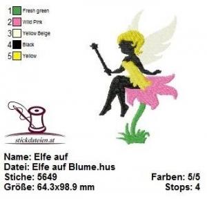 ★★★ Elfe auf Blume, Stickdatei 10x10  ★★★ - Handarbeit kaufen