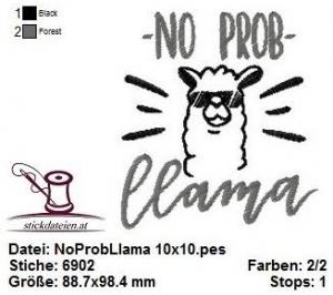 ☆☆☆ No Prob Llama Spruch, Stickdatei 10x10  ☆☆☆ - Handarbeit kaufen