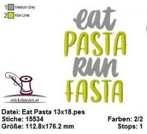☆☆☆ Eat Pasta Spruch, Stickdatei 13x18  ☆☆☆ - Handarbeit kaufen
