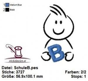 ♥☆♥ Schulkind B, Schulanfang, Stickdatei 10x10 ♥☆♥ - Handarbeit kaufen