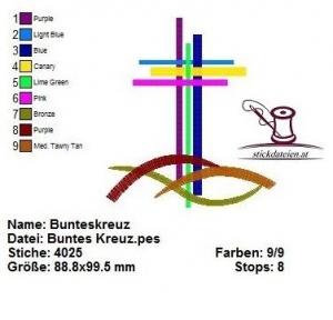 ☀♥☀ Bunte Kreuze, Taufe, Stickdatei 10x10 ☀♥☀ - Handarbeit kaufen