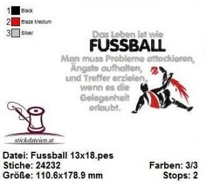 ☆☆☆ Fußball, Weisheit, Stickdatei 13x18  ☆☆☆ - Handarbeit kaufen