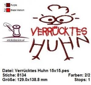 ☆☆☆ Verrücktes Huhn, Stickdatei 15x15  ☆☆☆