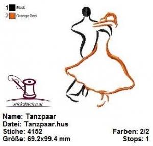 ☆☀☆ Tanzpaar, Stickdatei 10x10 ☆☀☆