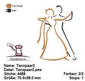 ☆☀☆ Tanzpaar2, Stickdatei 10x10 ☆☀☆ - Handarbeit kaufen