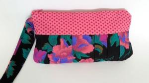 Pochette in pink und exotisch aufregendem Blumenmuster - Handarbeit kaufen