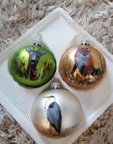 Weihnachtskugel Set (3 Kugeln), Weihnachten, Weihnachtsdeko, Weihnachtsgeschenk, personalisiert, handbemalte Glaskugeln, Weihnachtsschmuck - Handarbeit kaufen