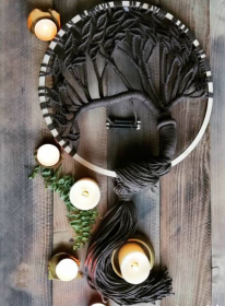 Lebensbaum makramee, Traumfänger makramee, Wanddekoration, 50 CM Durchmesser - Handarbeit kaufen