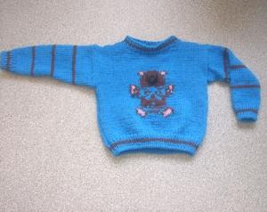 Blauer Jungen-Pullover mit eingestricktem Teddy