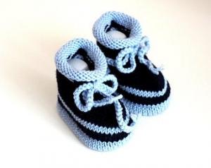 blau gestreifte Babyschuhe 3-6 Monate gestrickt aus Wolle - Handarbeit kaufen