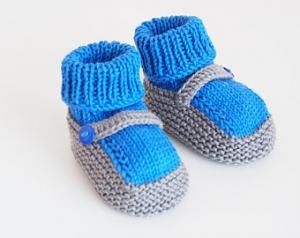 blau graue Babyschuhe 3-6 Monate gestrickt Baumwolle