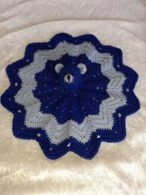 Weiches Schmusetuch ,Kuscheltuch, Schnuffeltuch mit Teddykopf in Blau/Hellblau
