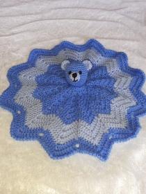 Weiches Schmusetuch ,Kuscheltuch, Schnuffeltuch mit Teddykopf in Jeansblau/Hellblau - Handarbeit kaufen