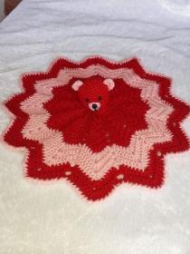 Weiches Schmusetuch ,Kuscheltuch, Schnuffeltuch mit Teddykopf in Pink/Rosa - Handarbeit kaufen