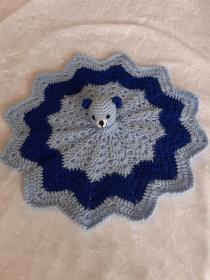 Weiches Schmusetuch ,Kuscheltuch, Schnuffeltuch mit Teddykopf in Hellblau /Blau