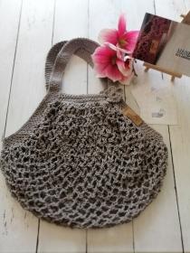 MAINbag.Einkaufsnetz * GRAU * Aus 100% recycelter Baumwolle . 100% handmade . 100% plastikfrei Einkaufen