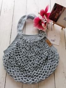 MAINbag.Einkaufsnetz * HELLBLAU * Aus 100% recycelter Baumwolle . 100% handmade . 100% plastikfrei Einkaufen