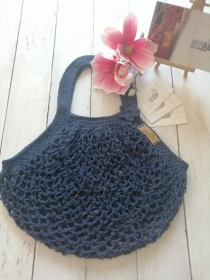MAINbag.Einkaufsnetz * DUNKELBLAU * Aus 100% recycelter Baumwolle . 100% handmade . 100% plastikfrei Einkaufen
