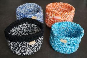 Häkelkörbchen aus Baumwolle, handgefertigt, Unikat