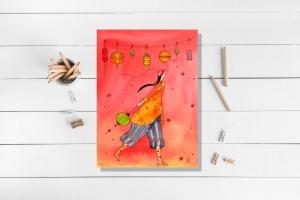 Kunstkarte incl. Umschlag, Frau Laterne, mit partiellem Glanzlack - Handarbeit kaufen
