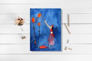 Kunstkarte incl. Umschlag, Herzregen, Künstlerpostkarte mit partiellem Lack - Handarbeit kaufen