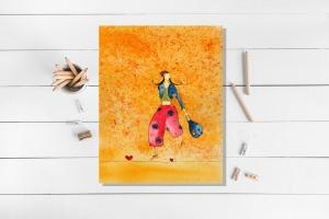 Kunstkarte incl. Umschlag, Mädchen mit Tasche, Künstlerpostkarte mit partiellem Lack - Handarbeit kaufen