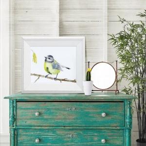 Fine Art Print des handgemalten Aquarells, Kleine Meise - Handarbeit kaufen