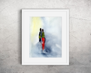 Fine Art Print des Original-Aquarells, Zwei Frauen, in verschiedenen Größen erhältlich - Handarbeit kaufen