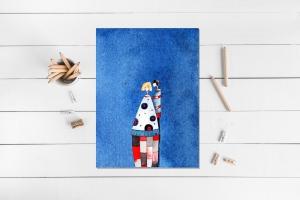 Kunstkarte incl. Umschlag, Liebespaar, Künstlerpostkarte mit partiellem Lack  - Handarbeit kaufen
