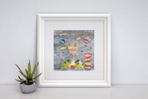 Naschkatze, aquarellierte Kunstpostkarte mit Glanzlack und Umschlag in rot, 14,8x14,8cm - Handarbeit kaufen