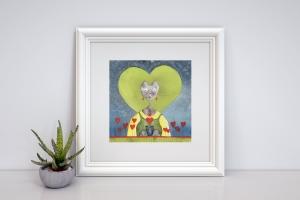 Liebeskatze, aquarellierte Kunstpostkarte mit Glanzlack und Umschlag in rot, 14,8x14,8cm  - Handarbeit kaufen