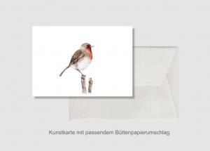 Kunstkarte incl. Büttenumschlag Fine Art Print des Aquarelles, Rotkehlchen - Handarbeit kaufen
