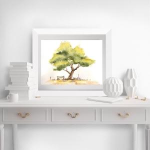 Fine Art Print vom Originalen Aquarell Baum mit Fahrrad - Handarbeit kaufen
