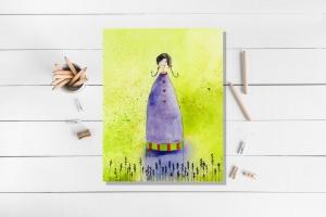 Kunstkarte incl. Umschlag, Lavendelmädchen, Künstlerpostkarte mit partiellem Lack  - Handarbeit kaufen