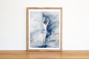 Fine Art Print vom Original-Aquarell Ballerina, in verschiedenen Größen erhältlich - Handarbeit kaufen