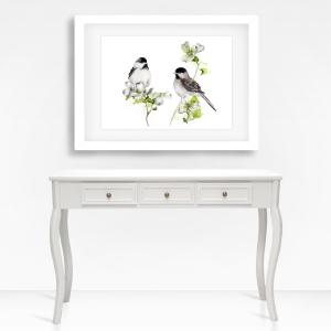 Fine Art Print des handgemalten Aquarells , Zwei Tannenmeisen - Handarbeit kaufen