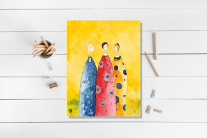 Kunstkarte incl. Umschlag, Drei Frauen, Künstlerpostkarte mit partiellem Lack - Handarbeit kaufen